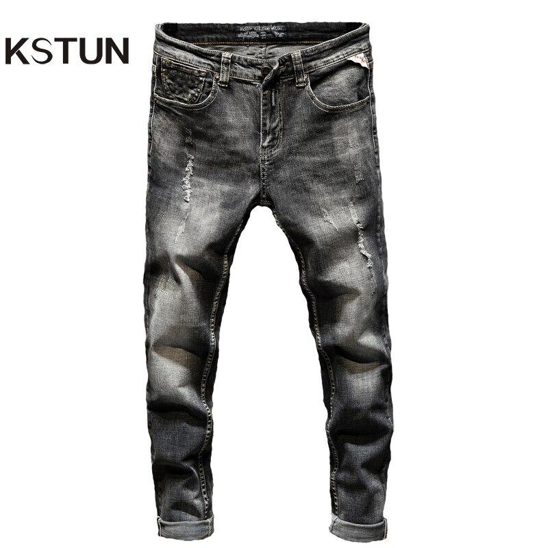 Distressed Ripped Slim Fit Jeans Men Gray Stretch Skinny Washed Destroyed Denim Pants Fashionable Streetwear Biker Jean For Men