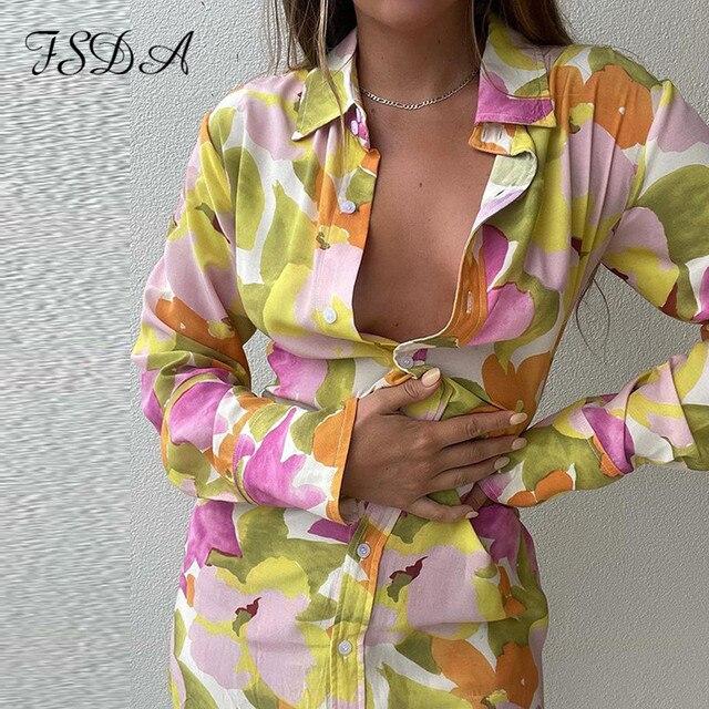 FSDA 2021 Floral Print Long Sleeve Shirt Dress Women V Neck Spring Summer Mini Sexy Beach Casual Bodycon Party Dresses 2
