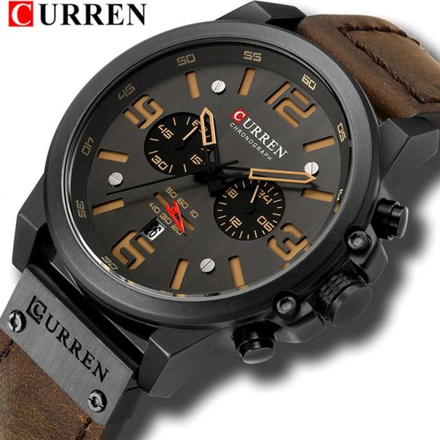 Curren 8314 marca de luxo quartzo relógio masculino militar à prova dmilitary água pulseira couro esporte dos homens relógios moda casual masculino clock clock clock 1