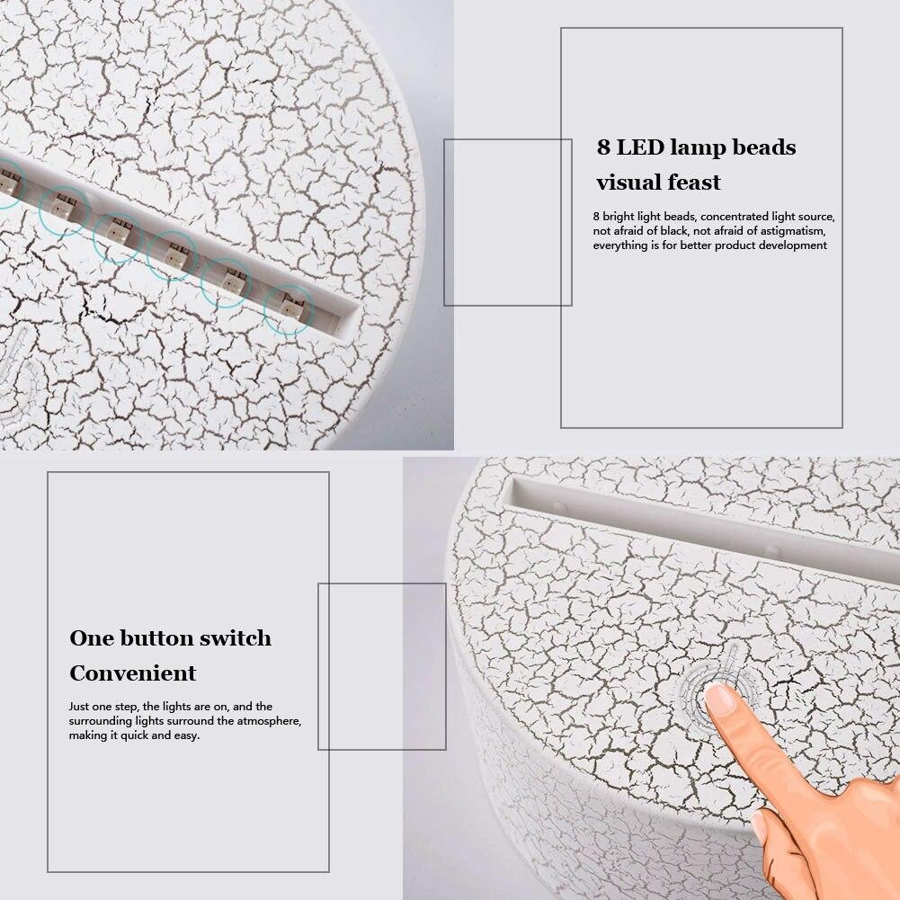 Трещины шаблон 3D держатель лампы Сенсорная лампа основания ночник лампа с креплением База Светодиодный 7 цветов современный светящийся орнамент дома
