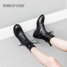 цена на ROBESPIERE Quality Cow Leather Round Toe Mid Calf Boots Lace Up Black Platform Women Shoes Warm Plush Waterproof Snow Boots B50