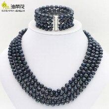 ホットな新ファッションスタイル高貴 4 行 6 7 ミリメートル黒真珠シェルネックレスブレスレットイヤリングセットジュエリーセット母の日ギフト W0172