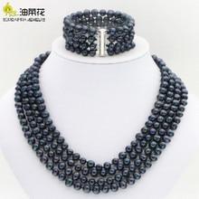 Caldo di nuovo modo di stile Più Nobile 4 righe 6 7mm nero delle coperture della perla del braccialetto della collana set set di Gioielli regali di Giorno della madre W0172