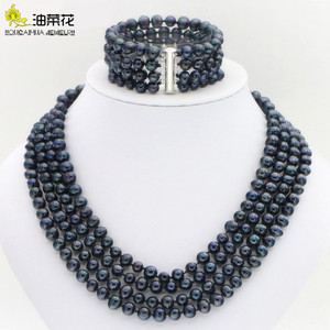 Image 1 - Hot new fashion style Noblest 4rows 6 7mm black pearl shell necklace bracelet earring sets Jewelry sets Mothers Day gifts W0172