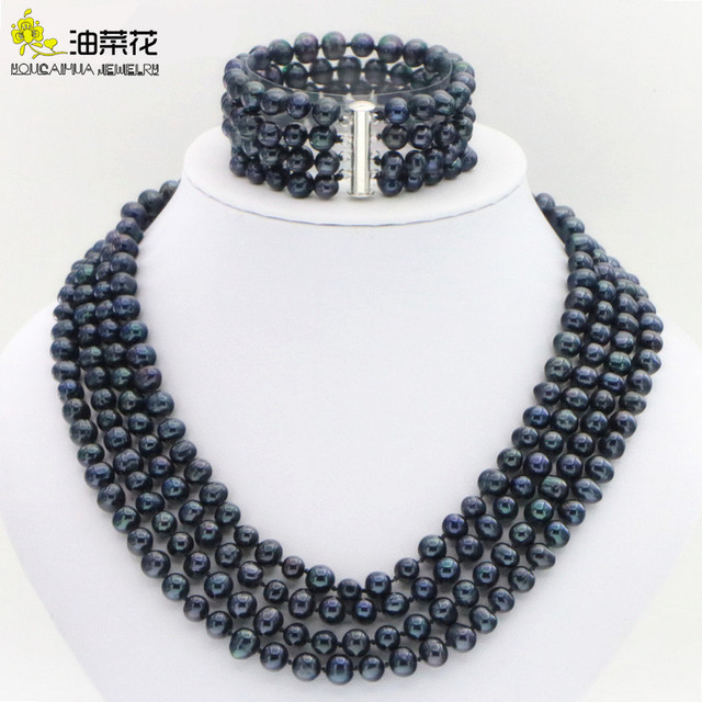 Hot new fashion style Noblest 4rows 6 7mm black pearl shell necklace bracelet earring sets Jewelry sets Mothers Day gifts W0172