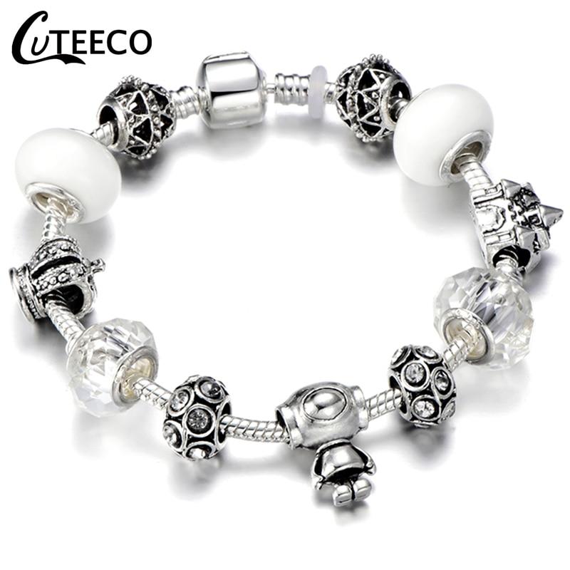 CUTEECO Европейский Любовь Сердце Шарм Браслеты и браслеты новые Марано бусины fits Дизайнерские Браслеты Женские Модные Ювелирные изделия Подарки - Окраска металла: AJ3043