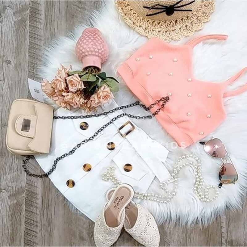 Toddler Kids Baby Girls Clothes Button Flower Print Bandage Skirts Off Shoulder Solid Strap Tops 2pc Summer Outfit