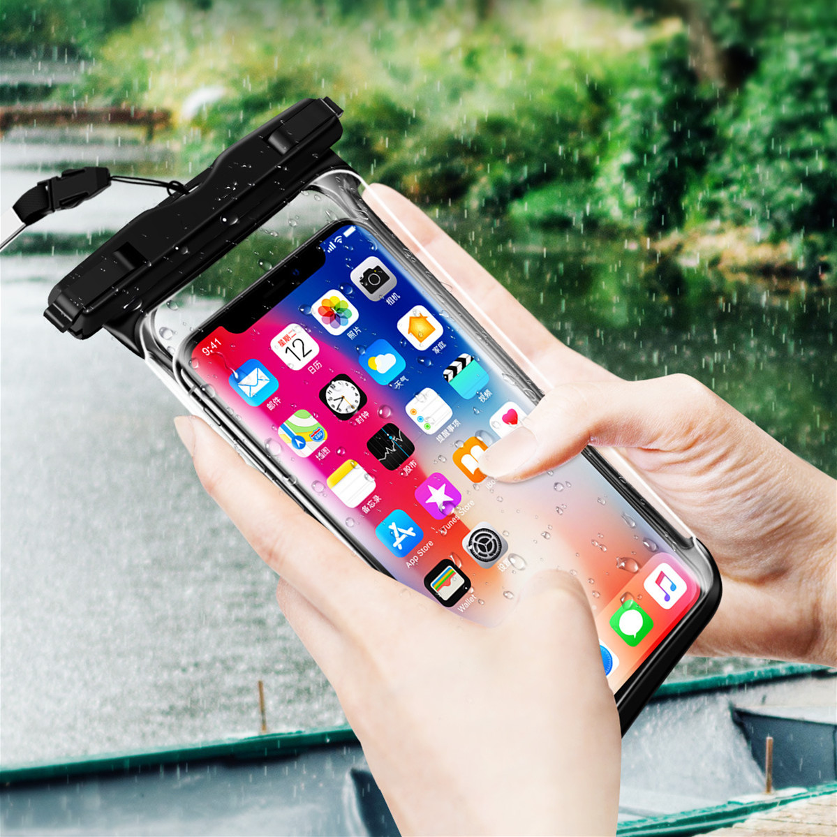 He3c7ff63b43440e09e87b46c5d0ab5b3O - Full View Waterproof Swimming Pouch Case for Phone Underwater Snow Rainforest Transparent Dry Bag Big Mobile Phone Bag Sealed