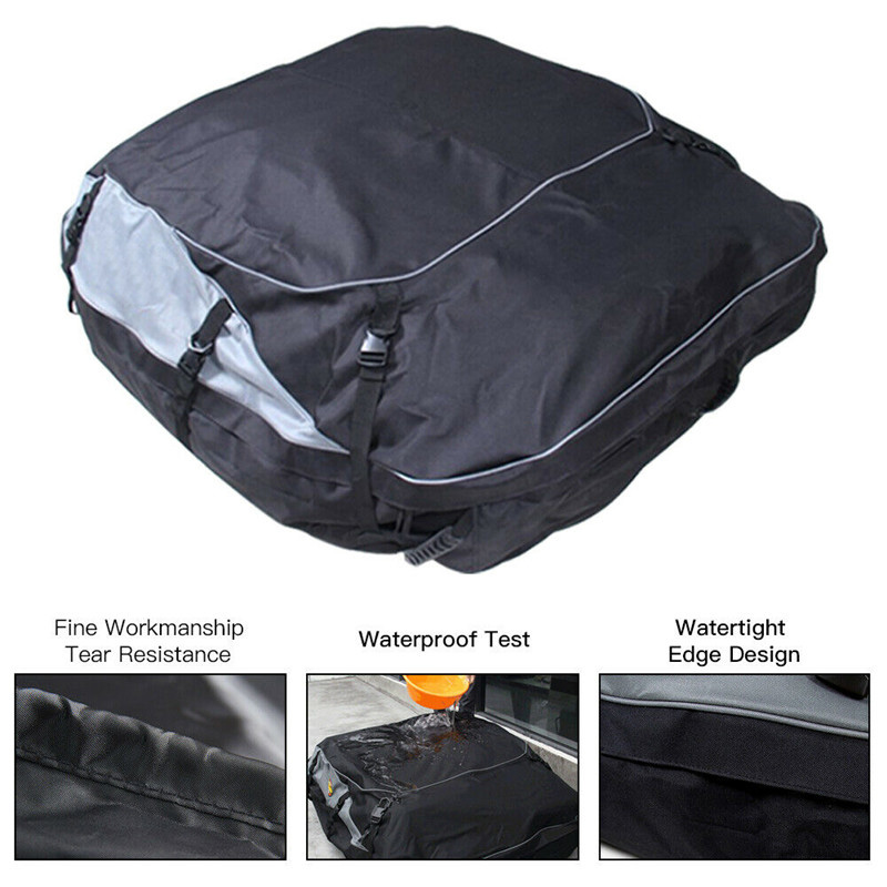160x110x45cm Universal Waterproof Car Roof Top Rack Bag Cargo Carrier 12
