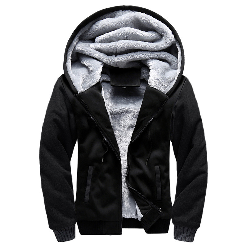 Winter Sports Men's Solid Color Thick Sweater Increase Down Male Zipper Cardigan Spelling Color Even Hat Loose Coat Jackets