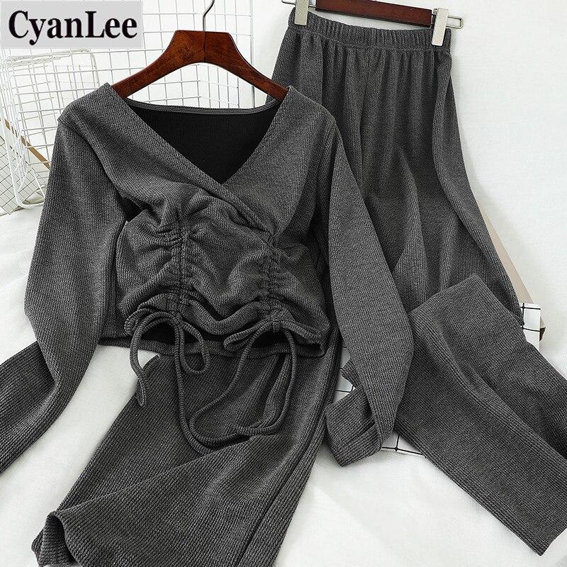 Women Knitted Lounge Wear Sets 2pcs Crop Top Suit Ladies Tracksuit Set Sportswear Outfits Casual Streetwear Clubwear