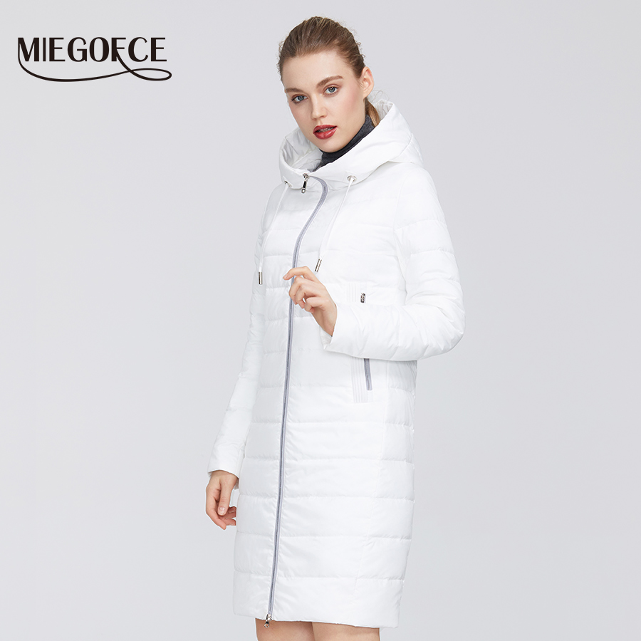 MIEGOFCE 2020 New Spring Autumn Women´s Cotton Jacket Windproof Coat Medium Long With Durable Collar Stylish Women Warm Jacket
