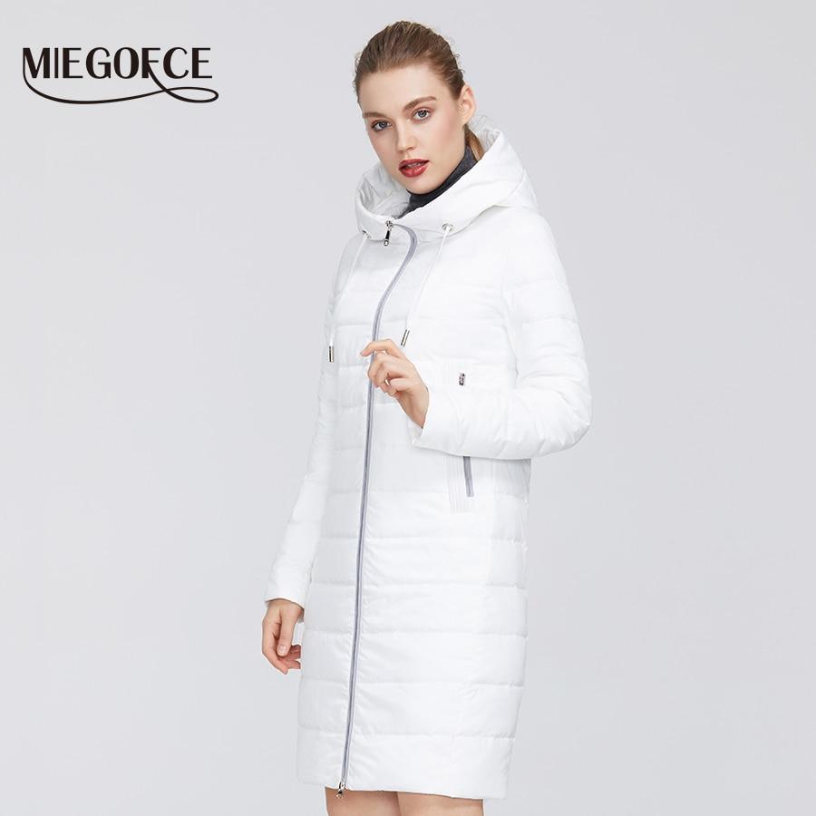 MIEGOFCE 2020 New Spring Autumn Women´s Cotton Jacket Windproof Coat Medium Long With Durable Collar Stylish Women Warm Jacket