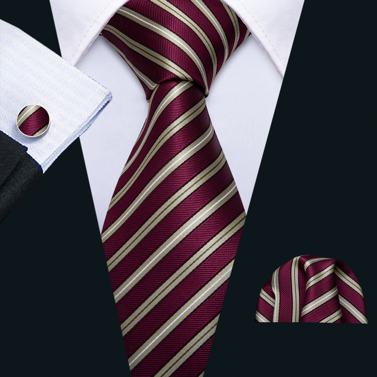 Men Stripe Ties Red Silk Tie Yellow Necktie Set Pocket Square Cufflinks Classic Neck Tie For Business Wedding Barry.Wang FA-5185