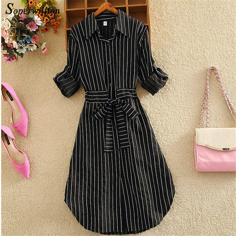 2019 Полосатое женское платье туника с длинным рукавом элегантное платье-рубашка синее, белое, Черное Осеннее женское повседневное короткое платье в полоску на шнуровке