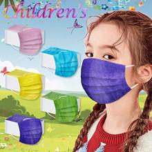 50 sztuk Chirld maska jednorazowa mieszane kolor jednorazowe fioletowy żółty niebieski różowy zielony maska Spunlace tkaniny oddychające tłoczone Maske tanie tanio COTTON Poliester SILK NONE CN (pochodzenie) Dziewczyny Drukuj masker mascarillas face mask masques masque de protection