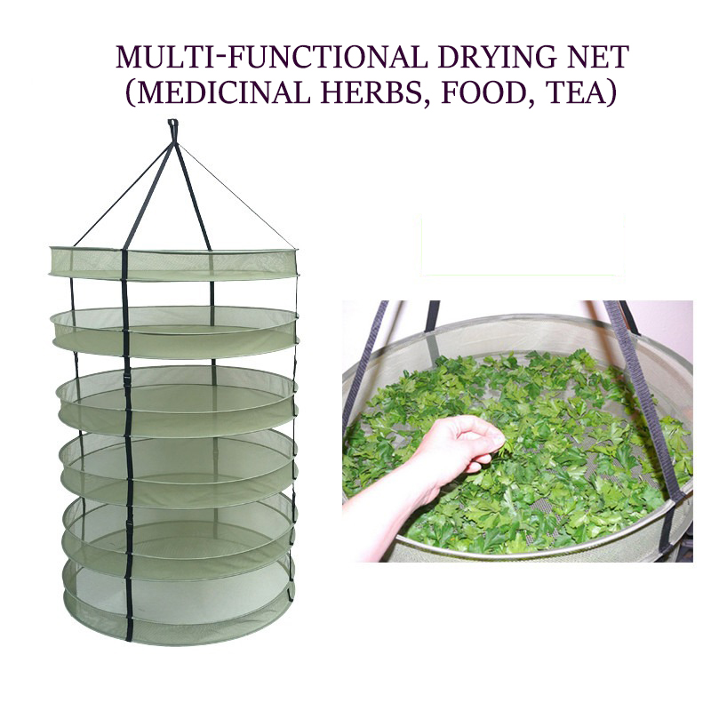 Hanging Herb Drying Net Multiple Layers Folding Dry Rack Opening Shape Dried Mesh For Herbs Flowers Buds Plants Herb Dryer