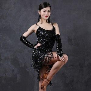 Image 3 - Vũ Điệu Latin Đầm Trang Phục Tiếng La Tinh Nhảy Múa Shinning Nữ Latindance Cho Bé Gái Bộ Thi Latino Áo Viền Kim Sa Lấp Lánh