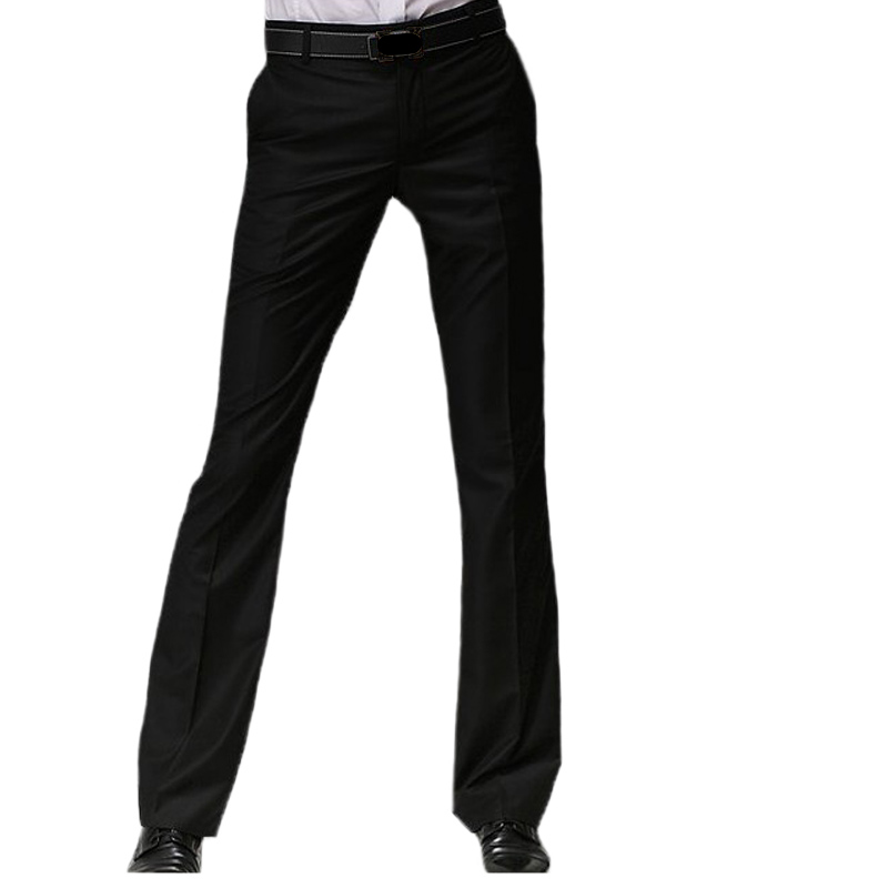2020 Spring  Men's Flared West Suit Pants  Formal Pants With Back Cover Flap Bell Bottom Pant Black Business Suit Pants Size 28