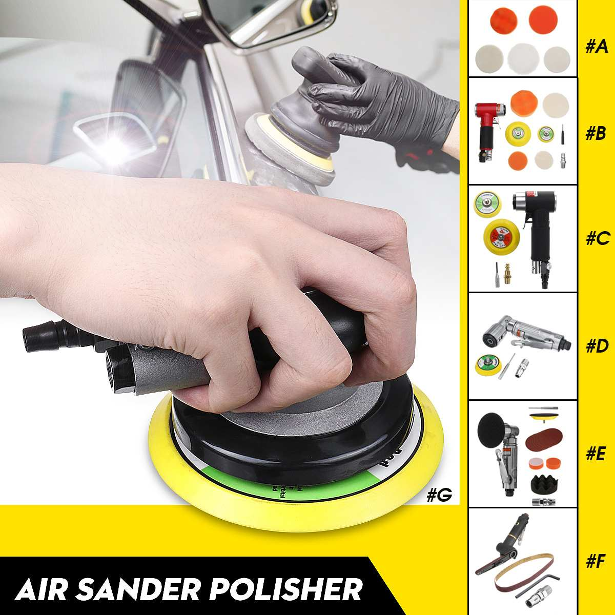 Sander Polisher Dual Action Random Orbital Polishing Pad Car Pneumatic Grinding For Car Paint Care Tool