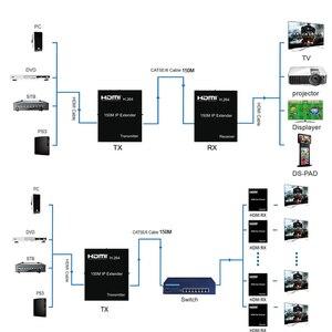 Image 5 - 150M HDMI IP Extender באמצעות RJ45 Ethernet רשת Cat6 חתול 6 6a כבל הארכת תמיכה 1 TX 50 RX משדר מקלט IR UTP/STP