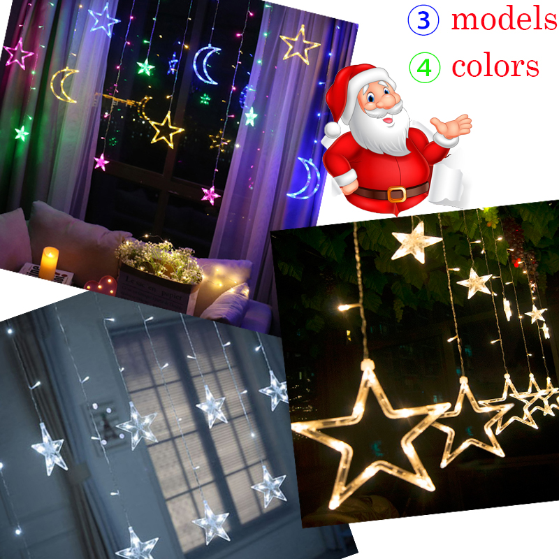Christmas Led String EU Plug  Curtain Light Fairy Lights Outdoor Party Garden Wedding Decorative Garland Lamp