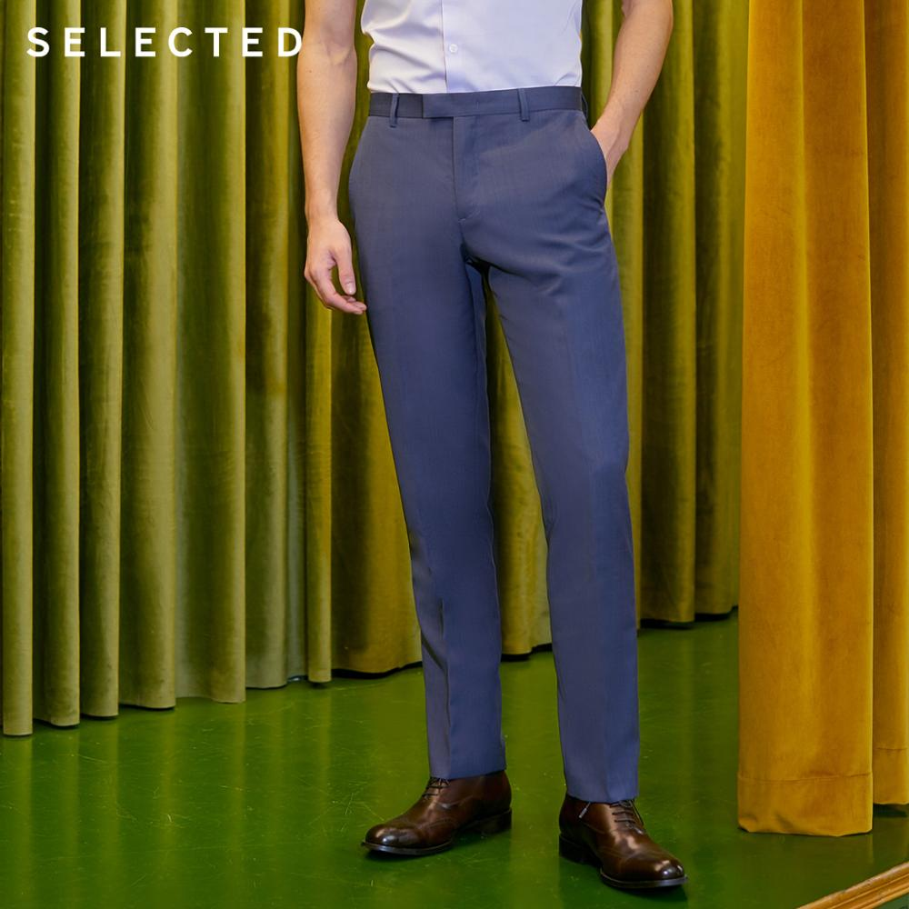 SELECTED Men's Pure Color Cotton Sheep Wool Regular Fit Suit Pants T|41916B510