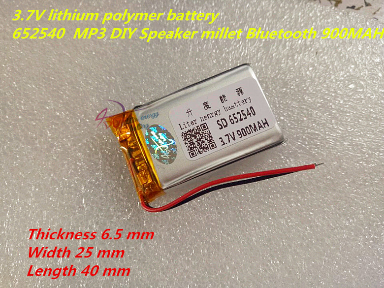 Liter energy battery 1PCS <font><b>652540</b></font> 3.7V 900mah Lithium polymer Battery With Protection Board For MP3 MP4 MP5 image