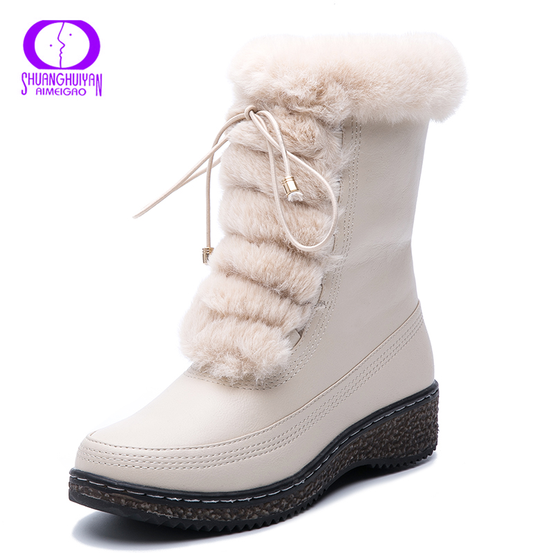 AIMEIGAO Waterproof Women Winter boots Warm Plush Lace Up White Fur Snow Boots Women Side Zippers Platform Leather Botas Mujer image