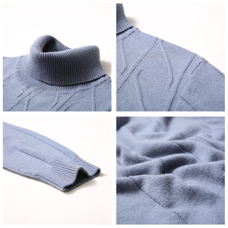 UCAK Brand Pure Merino Wool Sweaters Men 2020 New Arrival Fashion Trend Casual Turtleneck Striped Homme Pullover Sweater U3160