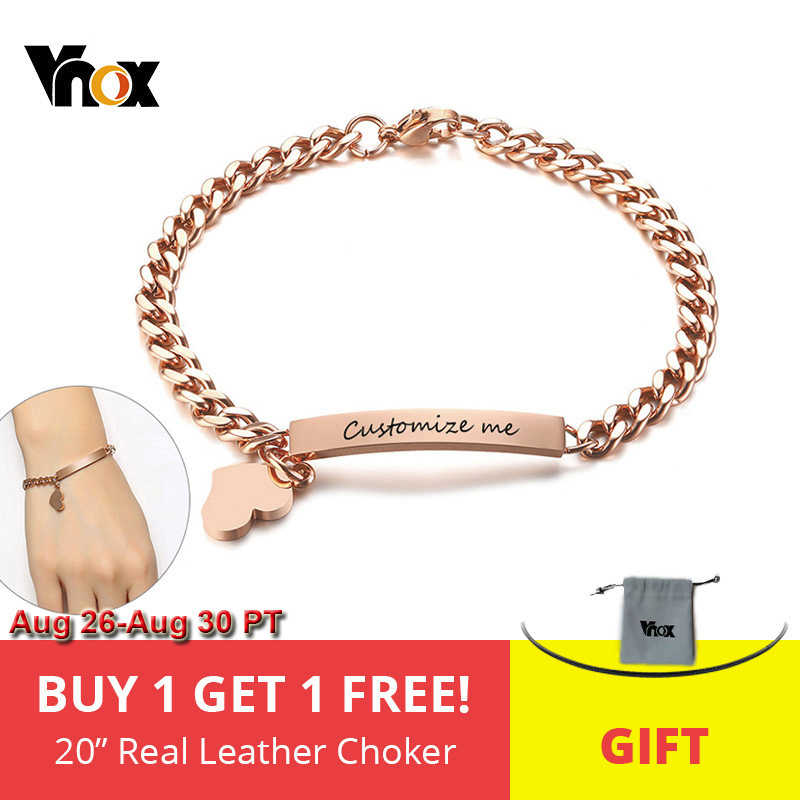 Vnox Free Engraving Custom Bracelets for Women Girl 585 Rose Gold Stainless Steel Elegant Female Jewels Personalize Gift for Her