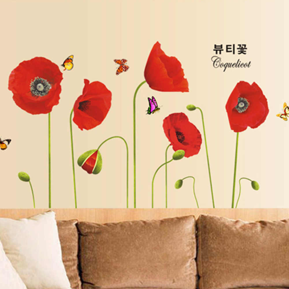 50*70CM אדום פרג פרחים שינה פרפרי קיר מדבקות אמנות מדבקות טפט קיר בית תפאורה טלוויזיה רקע