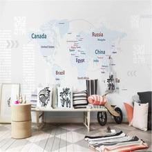 Milofi custom wallpaper wall cloth 3D children's cartoon world map background painting decorative