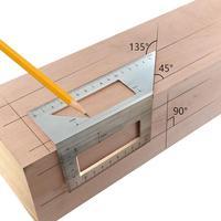 Carpintaria de alumínio scriber t régua multifunções 45/90 graus ângulo régua casa ferramenta medição madeira acessórios práticos|Transferidores| |  -