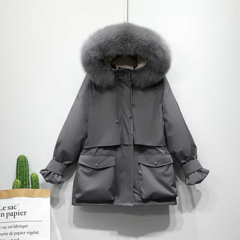 Chaqueta de Invierno para mujer piel de zorro Natural grande gruesa de pato abajo abrigo Parkas con cierre de nieve prendas de abrigo