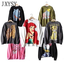 2019 Sweatshirt Women Hoodies Black Pink Cartoon Mermaid Print Long Sleeve Female Casual Loose Womens Tops