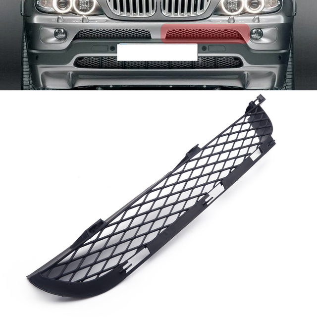 블랙 왼쪽 전면 ABS 그릴 상단 범퍼 메쉬 그릴 트림 몰딩 장식 적합 BMW X5 E53 2004 2005 2006