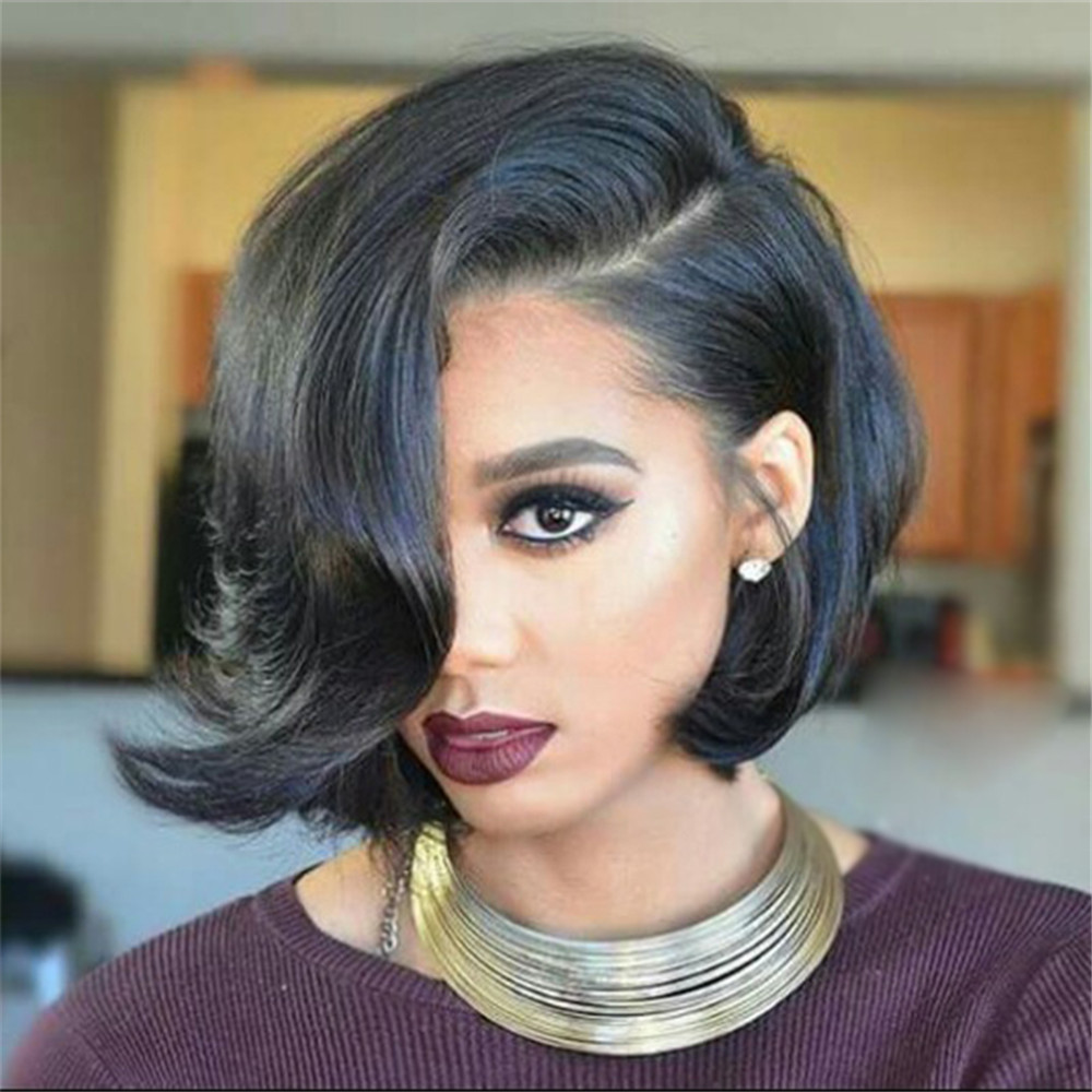 Eseewigs Short 13x4 Lace Front Wigs Human Hair Side Part Brazilian Remy Human Hair Glueless Wigs For White Women