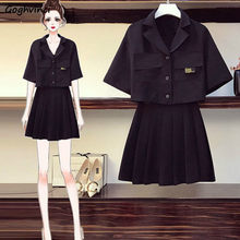 Zestawy dla kobiet Plus rozmiar 4XL luźna moda codzienna czarna elastyczna talia plisowana spódnica modne dziewczęce Street-wear stylowy koreański styl Chic