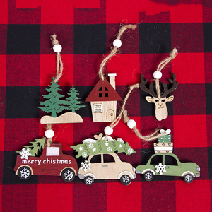 Image 1 - 2021ナヴィダードクリスマスツリー車の装飾木製ハンギングペンダントヘラジカクリスマスの装飾ホーム新年ノエル誕生日ギフト