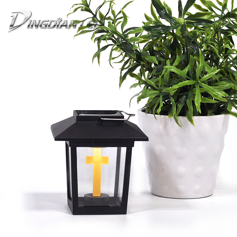 Rainproof Solar Outdoor Small Palace Lamp LED Garden Lantern House Holloween Cemetery Ritual Energy Saving Decoration Flame