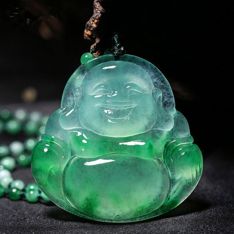 Carved Maitreya Buddha Jade Pendant Natural Chinese White Green Jadeite Laughing  Necklace Jewellery Fashion Amulet Gifts