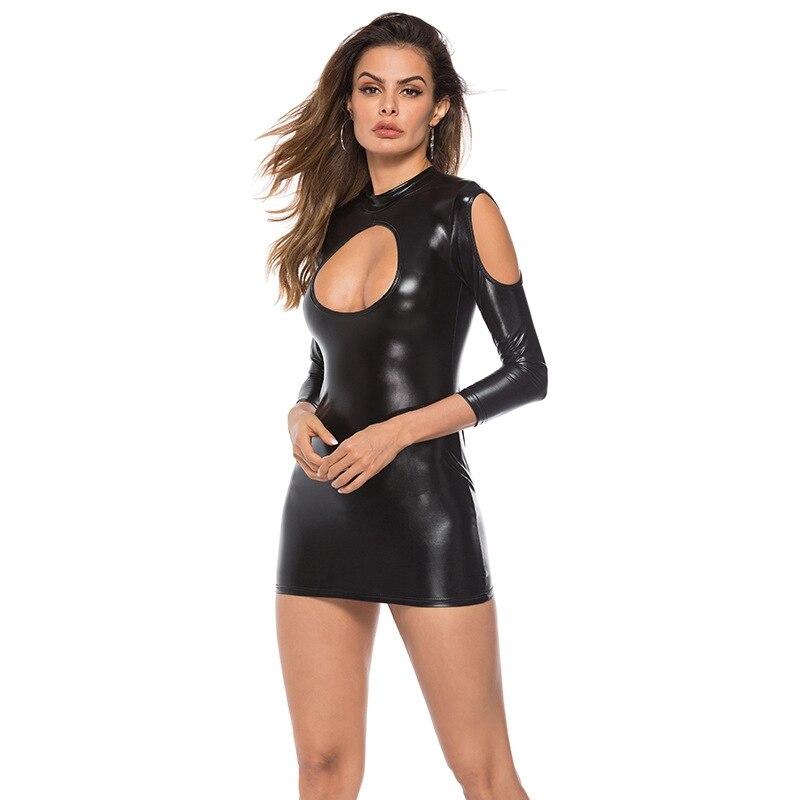 Women Sexy Wetlook Shiny Lingerie Dress Pu Leather Vinyl Mini Dress Latex Pvc Catsuit Clubwear Hot Erotic Fetish Costumes Xxxl