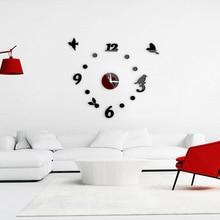 Стиль 3D акриловые зеркальные птицы цифровые стильные настенные часы украшение дома экологически чистые часы наклеиваются на стену м