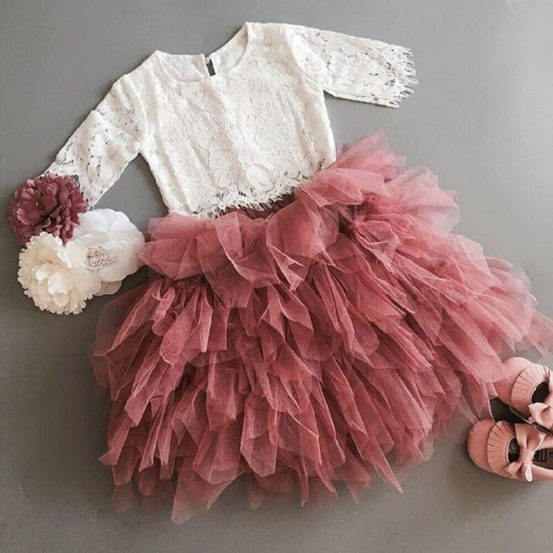 1-6Years Lace Blouse Top + Ball Gown Skirts 2pcs Set For Toddler Kids Baby Girls Clothes Party Birthday Princess Outfits