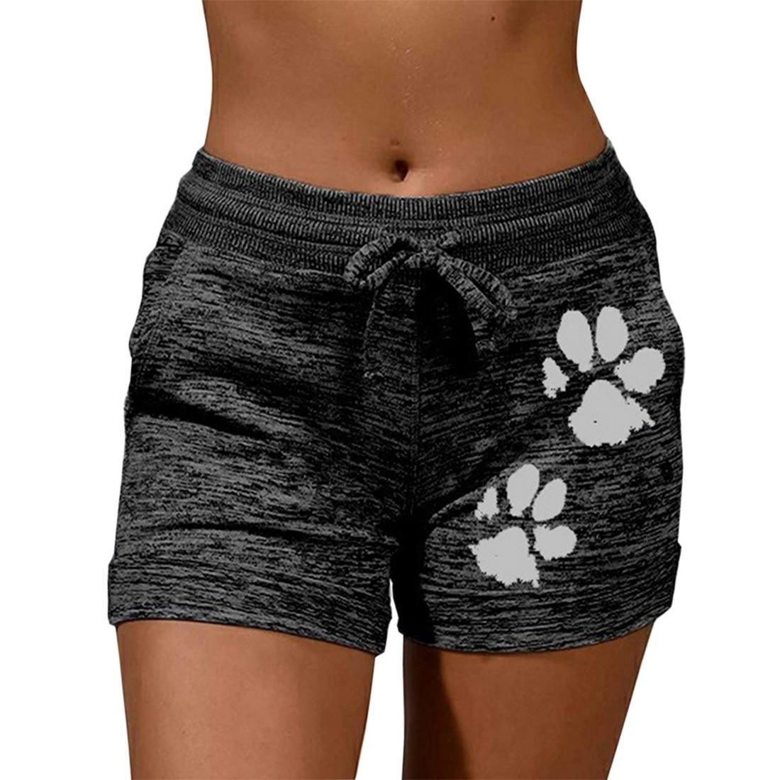 Muyogrt Summer Women Casual Running Sports Shorts Waistband Elastic Waist Shorts Fashion Female Girls Paw Print Loose Shorts 6