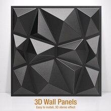 Panel decorativo para pared autoadhesivo, segmentos de 30x30 cm, con diseños geométricos en 3D tallados de madera o yeso, pegatina para decoración del hogar