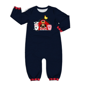 Image 2 - The Farm Baby Black Cotton Jumpsuit With Embroidery wholesale Infant Rompers Knitted Ruffle Baby Clothing