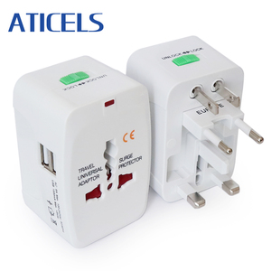 All-in-one Universal International Travel Adapter 2 USB Port Power Adapter with AU US UK EU Converter Plug 110-250V