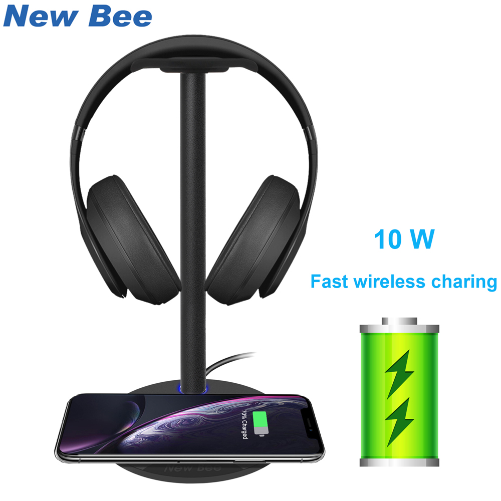 New Bee Fast Wireless Charging Headphone Stand 5W/7.5W/10W Wireless Charging Speed Headset Holder With LED For All Qi Phones